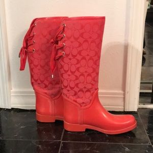 Authentic Pink Bow Coach Rainboots